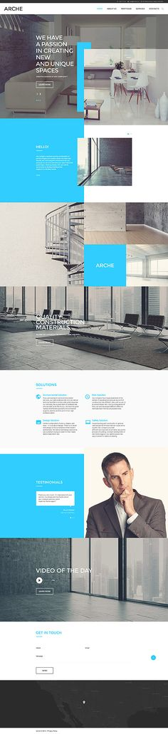 Arche Responsive HTML Template - Wordpress Business Themes - Ideas of Wordpress Business Themes - Architecture Website Template Web Design Trends, Layout Design, Design Sites, Interaktives Design, Web Ui Design, Web Layout, Brochure Design, Page Design, Interior Design