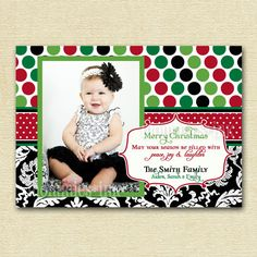 Polka Dot and Damask xmas card