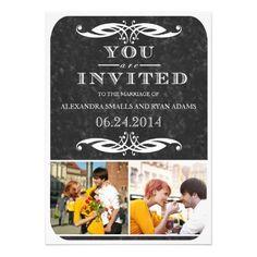 Chalkboard & Swirl Wedding Invitation and Photos