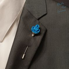Men's Lapel Stick Pin, Elegant Handcrafted Royal Scepter, Turquoise on Silver…