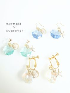 マーメイド○゜スワロフスキー…ピアス.イヤリング Sea Jewelry, Resin Jewelry, Fine Jewelry, Diy Fashion Accessories, Handmade Accessories, Fashion Jewelry, Glass Earrings, Cute Earrings, Resin Charms
