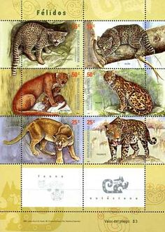 Postage Stamps - Argentina 2001 Big Cats (6) SHEET UM