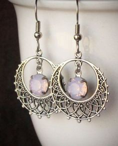 Pink Opal Rhinestone Filigree Earrings SIlver Hoop
