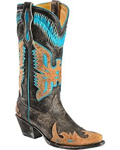 Corral Womens Turquoise Eagle Overlay Cowgirl Boot Snip Toe Black 75 M US >>> Want to know more, click on the image.