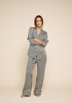 Buy Lila Nika Black   White Striped Silk Pyjama Set Medium - Large by  Olivia Von Halle and more online today at The Conran Shop 8f00ba6ff