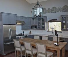 gray cabinets, fridge surround
