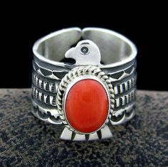 Darrell-Cadman-Navajo-Sterling-Silver-Coral-Eagle-Ring-Size-9-R31G