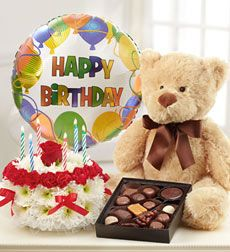 Teddy wished you Birthday and anxiously for you with a big balloon, large cake and belgian chocolates...