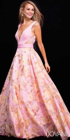 Whimsical yet tantalizing this side pocket satin jacquard a line prom dress by Jovani. #edressme