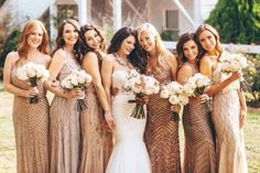Blush Bridesmaids and Bouquets See more . Blush Bridesmaids and Bouquets See more here: www. Bronze Bridesmaid Dresses, African Bridesmaid Dresses, Bridesmaid Dress Styles, Wedding Bridesmaids, Sparkly Bridesmaids, Bride Dresses, Julia Konrad, Wedding Colors, Wedding Styles