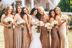 Blush Bridesmaids and Bouquets See more here: http://www.cedarwoodweddings.com/2015/04/keeneland-inspired-julibee-wedding-hayleyskylar/