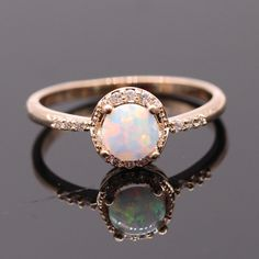 ALBEST Womens Platinum Plated Copper Colorful Opal Promise Rings for Teen Girls