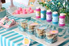 Mermaid Under the Sea Party - sand dollar cookies, under the sea bubbles, fish candy in chevron bags