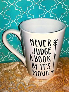 Coffee Mug Never Judge a Book by it's Movie by WholeWildWorld Etsy.com gift idea, friend, present