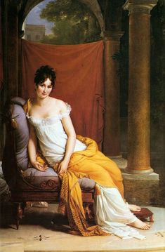 """François Gérard: """"Madame Récamier"""", 1805,  oil on canvas, Dimensions Height: 255 cm (100.4 in). Width: 145 cm (57.1 in), Current location: Carnavalet Museum."""