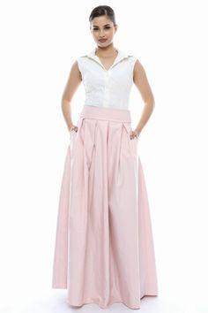 Fusta lunga de ocazie din bumbac tip tafta, Sweet Rose of Mine, stil elegant, roz pal, Marimea 42 - eMAG.ro