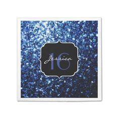 Beautiful Blue sparkles Sweet 16 paper napkins by #PLdesign #SparklesGift #Sweet16 #BlueSparkles