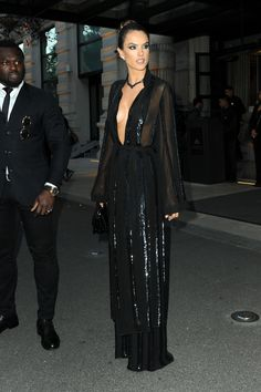 Alessandra Ambrosio wearing Sally Lapointe Kimono Duster and Sally Lapointe Striped Sequin Pants