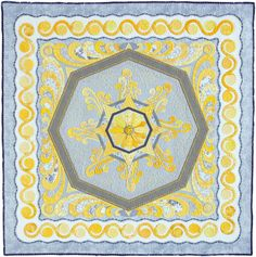Curvilinear Energy quilt by Keith Dommer. A study in yellow. Quilters Newsletter, April/May 2014.