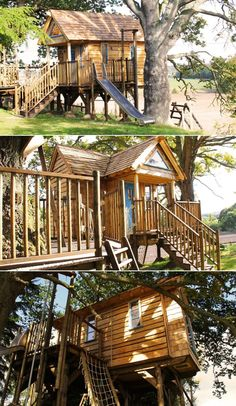 Elevated from the ground on wooden stilts, this treehouse for kids in Perthshire, UK is one of the many bespoke projects by famous architecture firm Blue Forest. Pallet Tree Houses, Famous Architecture, Blue Forest, Climbing Wall, Rustic Style, Rustic Furniture, Backyard, Treehouses, House Styles