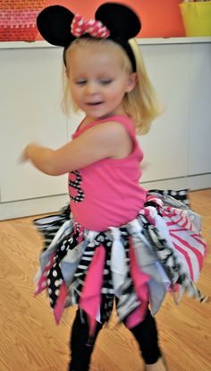 Fabric tutu for Minnie Mouse party