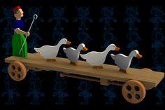 Lady and Her Flock Pulling Wooden Toy - SketchUp,Parasolid,SOLIDWORKS,Autodesk 3ds Max,OBJ,STEP / IGES,STL - 3D CAD model - GrabCAD