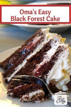 Easiest German Black Forest Cherry Cake ever ~ and so lecker! It's what's for hubby's birthday today. Recipe: http://www.quick-german-recipes.com/german-black-forest-cake-recipe.html ❤️ ~ Oma Gerhild