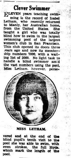 Isabel Letham made teaching swimming to women her career. - The World's News 4 September 1929, page 5