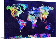 Icanvas world map on stone background canvas canvases stone and world map urban watercolor maps world gumiabroncs Gallery