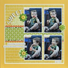 #papercraft #scrapbook #layouts 4-photo layout, with PP behind.  CONVERT TO 2-PAGE LAYOUT