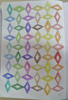 """Le cornicette che troviamo sulla """"Linea del 1000"""" di C. Bortolato, che i bambini ripetono per tutta una pagina… noi le chiamiamo """"Piastrellature"""" perchè sembrano dei … Graph Paper Art, Pattern Paper, Pattern Art, Tessellation Patterns, Quilt Patterns, Blackwork, Zen Wallpaper, Graph Crochet, Pencil And Paper"""