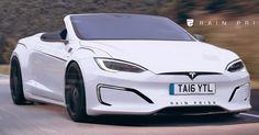 Tesla Model S Looks Pretty Sleek As A Convertible #Renderings #Tesla