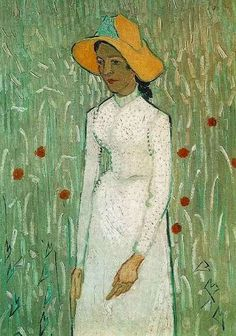 """Vincent van Gogh, """"Young Girl Standing Against a Background of Wheat"""", oil on canvas, 66.0 x 45.0 cm. late June, before July 2, 1890. National Gallery of Art, Washington, USA."""
