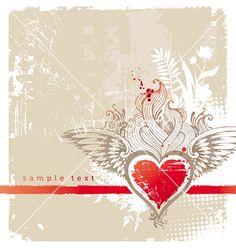 Vintage winged heart vector on VectorStock®