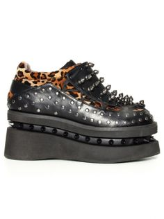 Opion Platform Shoes by Hades (Black) #Inkedshop #platform #studs #leopard #print #shoes #obsessed
