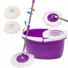 Easy Magic Floor Mop 360° Bucket 2 Heads Microfiber Spin Spinning Rotating Head in Home & Garden, Household Supplies & Cleaning, Mops & Brooms | eBay
