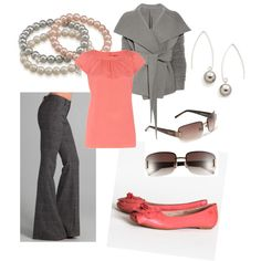 Coral and Gray, created by disneydiva7 on Polyvore
