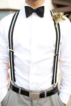 suspenders for the groom=sexy and classy