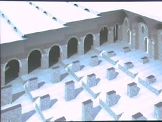 Restored view of what the Porticus Aemilia might've looked like in antiquity. Four tiers moving up slightly up the slope of the hill. You can see the use of the barrel vaults, the piers down below, the flat roof. As they rose up slightly along the slope of the hill, you can see that the designer has placed small, curved, slit windows on each tier to allow additional light into the structure.