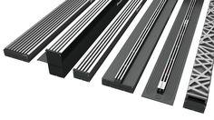 The new range of aquabocci channel drains. Architecture Details, Interior Architecture, Door Design, House Design, Linear Drain, Drainage Solutions, Floor Drains, Shower Drain, Bath Remodel