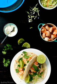 Simple Shrimp Tacos -- keep frozen shrimp in the freezer to whip up this dinner super fast when you need it