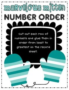 Students will cut out each row of numbers and glue them on the record sheet in order from least to greatest....