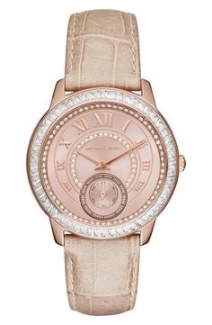 Michael Kors 'Madelyn' Leather Strap Watch, 40mm