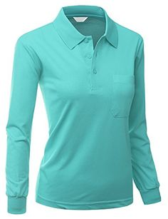 Womens Sporty ComfortablePolo Dri Fit Collar TShirt TURQUOISE Size S *** See this great product. Note:It is Affiliate Link to Amazon.