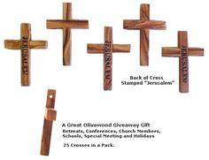 "Olive wood cross 25 pk made in Bethlehem stamped with Jerusalem 2"" x 1.5"""