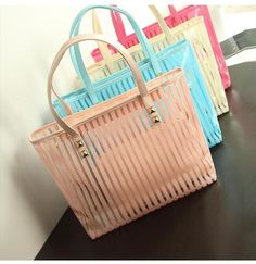 Woman's Summer Transparent Striped Handbag With Matching Cosmetic Bag