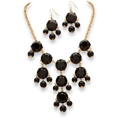 Palm Beach Jewelry 2 Piece Black or Aqua Bubble Beaded Necklace and... ($33) ❤ liked on Polyvore featuring jewelry, jewelry sets, black, set jewelry, yellow gold jewelry, beading jewelry, gold jewelry set and palm jewelry