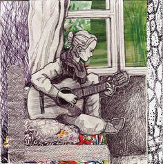 By: Satu Laaninen  Herkkupurkki: kollaasipikkukimalainen.blogspot.com  drawing, portrait, guitar