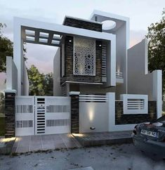 These are top modern villa exterior design that will inspire you to make your own. Bungalow House Design, House Front Design, Modern House Design, Modern Exterior, Exterior Design, Wall Exterior, Building Design, Building A House, Compound Wall Design