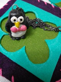 pingui,necklace, hand made, oil paint